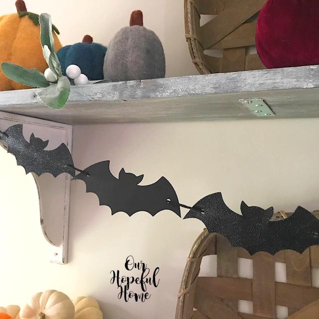 Target $1 glitter bat garland Halloween garland decor