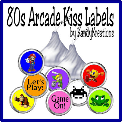 Treat your favorite gamers to these kiss labels straight from an 80s Arcade.  All your favorite video games like Donkey Kong, Super Mario Brothers, Pac Man, Frogger and more are here on sweet Hershey kiss labels that you can print and assemble at home for your next video game party.