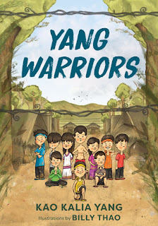 Cover image of Yang Warriors. A group of children stand near the fence of the refugee camp