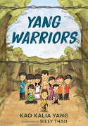 Cover of the picture book Yang Warriors. It has a group of children standing in front of the Thai refugee camp.