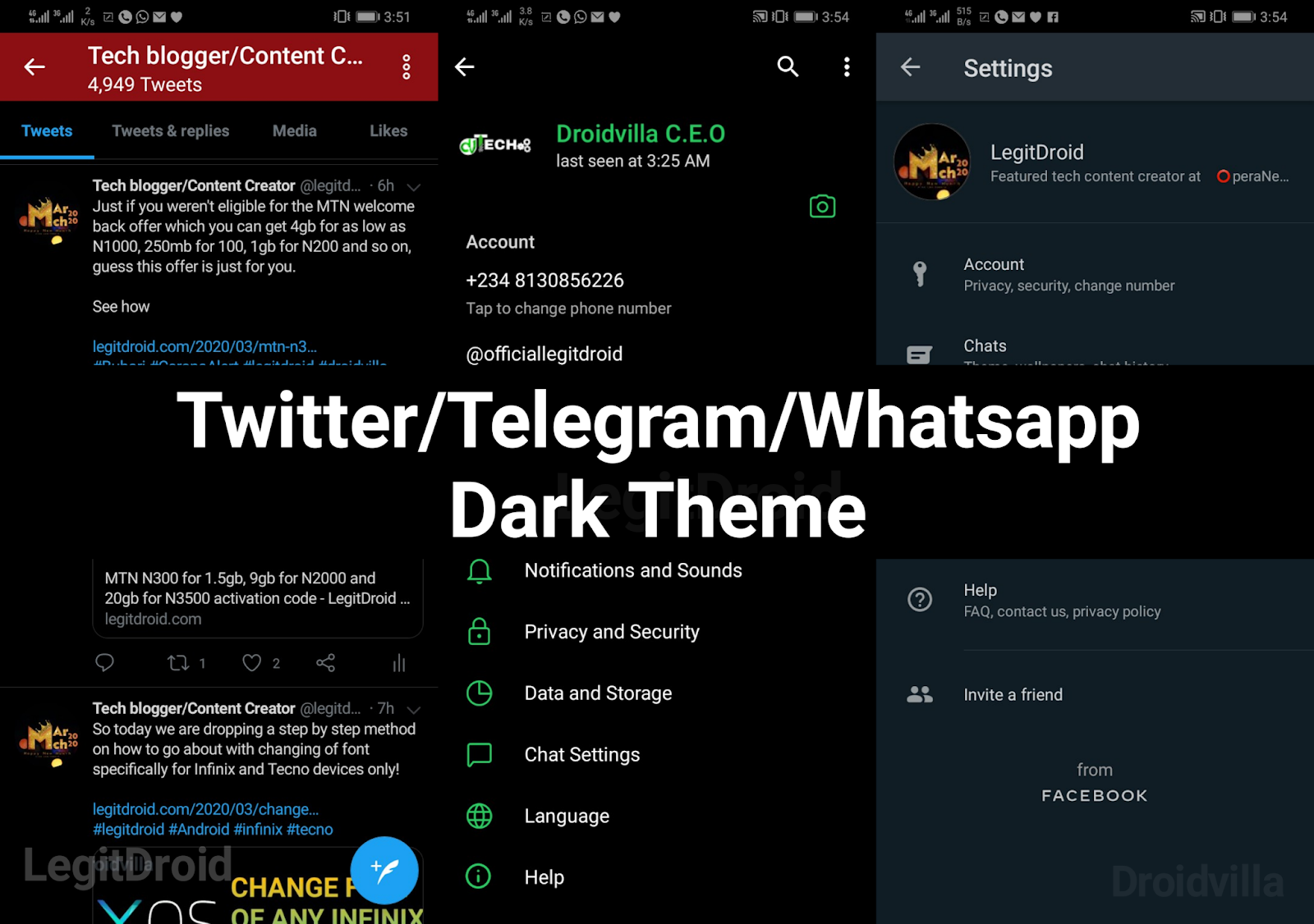 Twitter Telegram  whatsapp dark theme