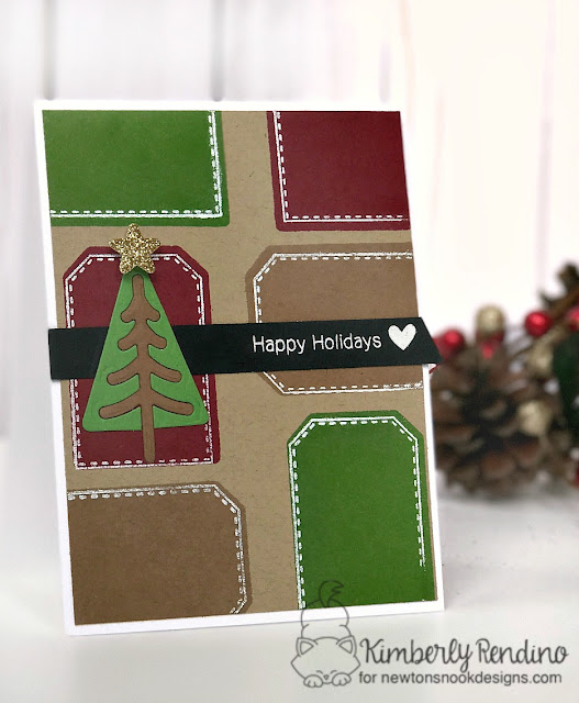 Happy Holidays card by Kimberly Rendino | handmade card | Newton's Nook Designs | Christmas | tags | cardmaking | papercraft