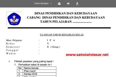 Download soal UKK mata pelajaran IPA Kelas  Soal UKK IPA Kelas 5 Beserta Kunci Jawabannya