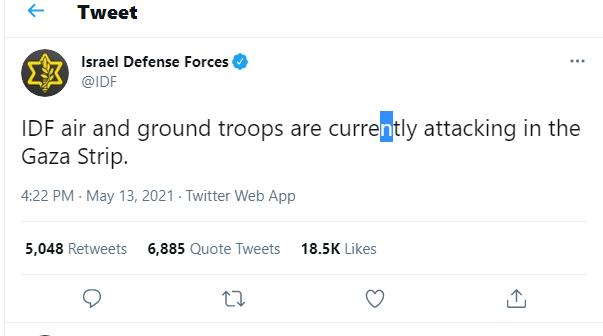 IDF Tweet ground forces in Northern Gaza