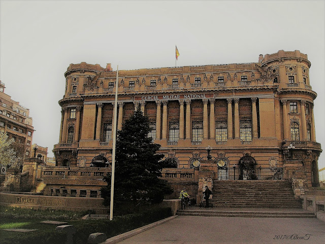 """The Palace of the National Military Circle, also known as the Officers' Circle Palace (Romanian:Cercul Militar Național) is located on Constantin Mile street in Bucharest, Romania. It was built in 1911 by architect Dimitrie Maimarolu using French neoclassical style. The beneficiary was the Officers' Circle of the Bucharest military garrison, which was founded in 1876. [1][2] The palace was built on the site of the old Sărindar monastery; the fountain in front of the palace bears its name."" Read more info about Cercul Militar Național on Wikipedia."