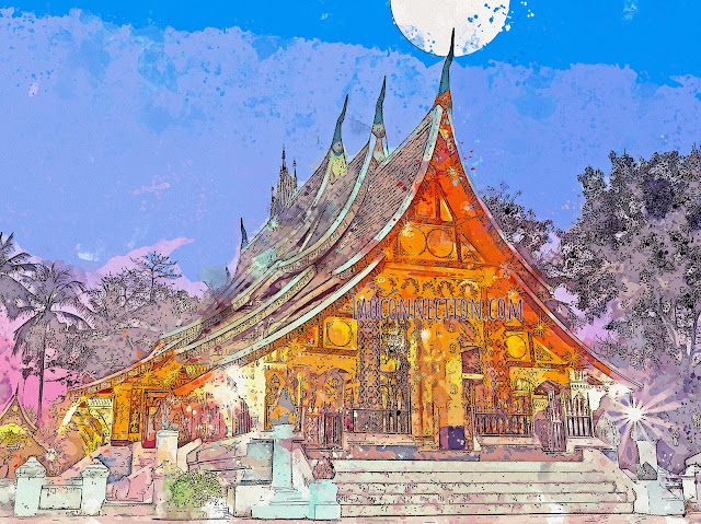 ວັດຊຽງທອງ Watercolor drawing of Vat Xieng Tong in Luangprabang, Lao PDR
