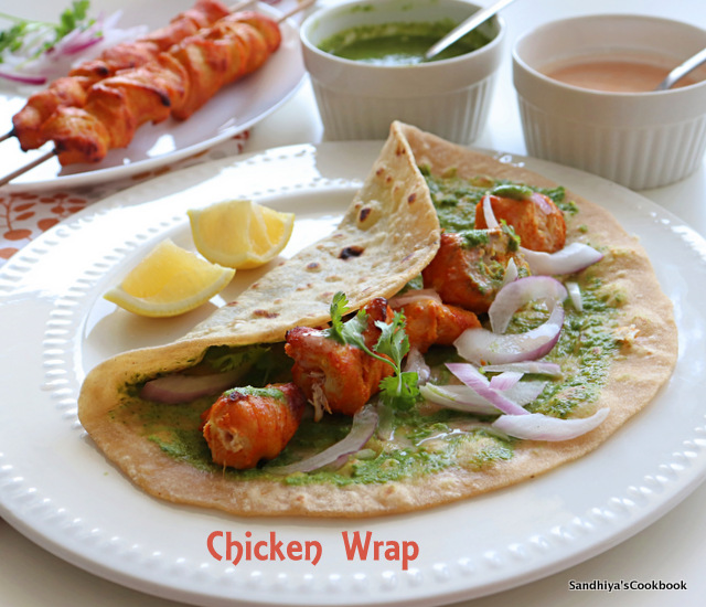 Sandhiya S Cookbook Chicken Kebab Wrap Chicken Wrap