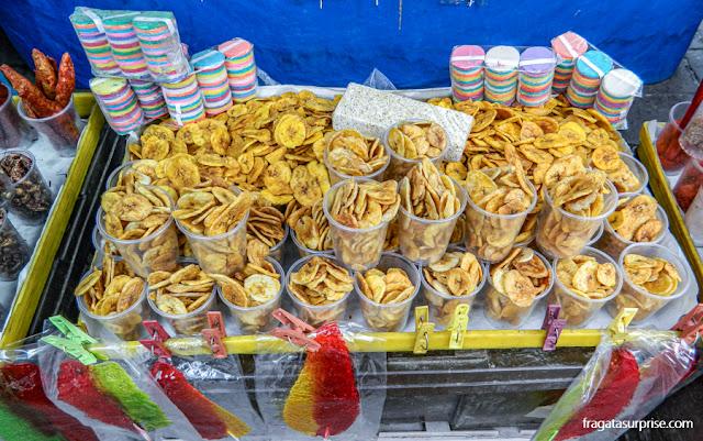 Comida de rua na Cidade do México, chips de banana