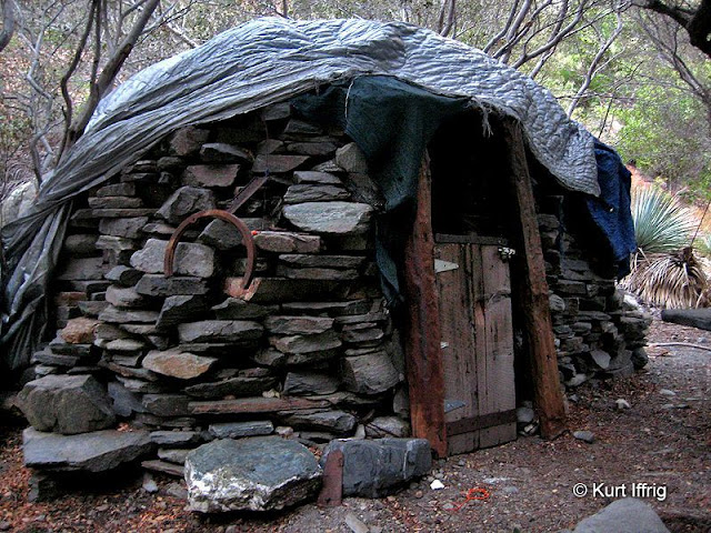 This is the Hobo Hut, built by a prospector named Backpacker Dave. It was built with stones from Oliver Justice's cabin.