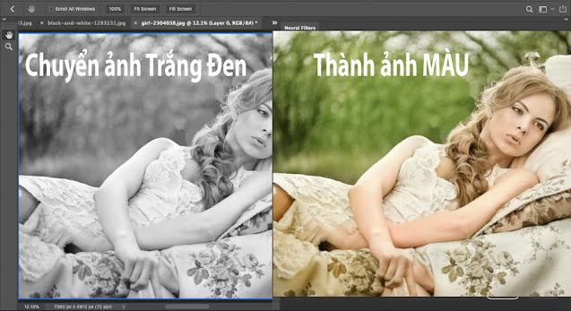Ảnh chân dung trước và sau khi chỉnh màu bằng photoshop
