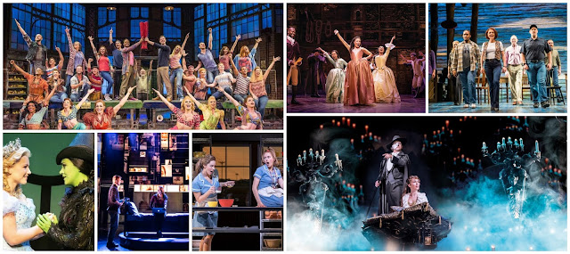 collage - Kinky Boots, Wicked, Dear Evan Hansen, Waitress, The Phantom Of The Opera, Come From Away, Hamilton