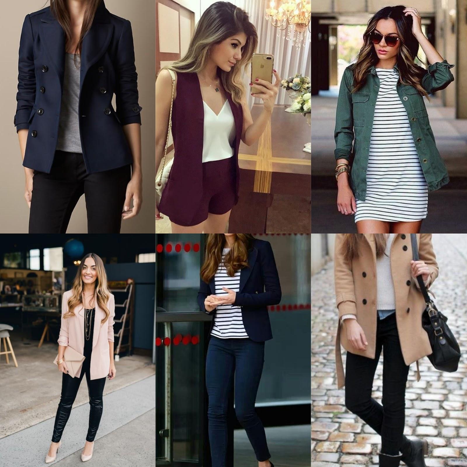 Casacos, jaquetas e blazers na altura do quadril de corte quadrado