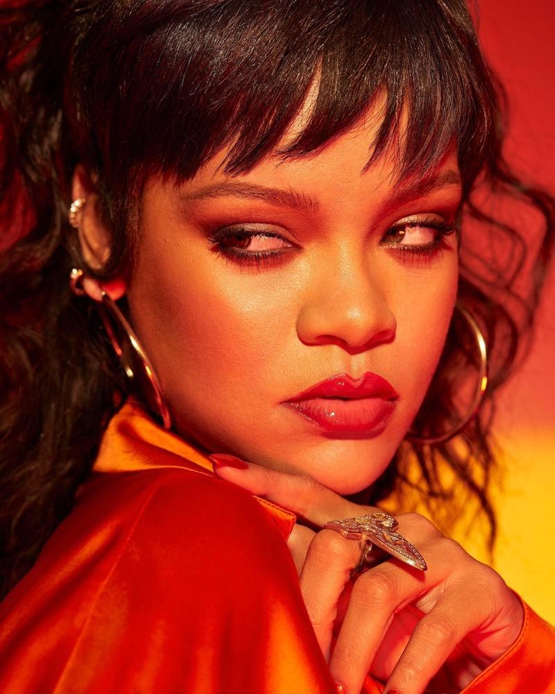 Rihanna stars in Fenty Beauty Gloss Bomb Heat campaign.