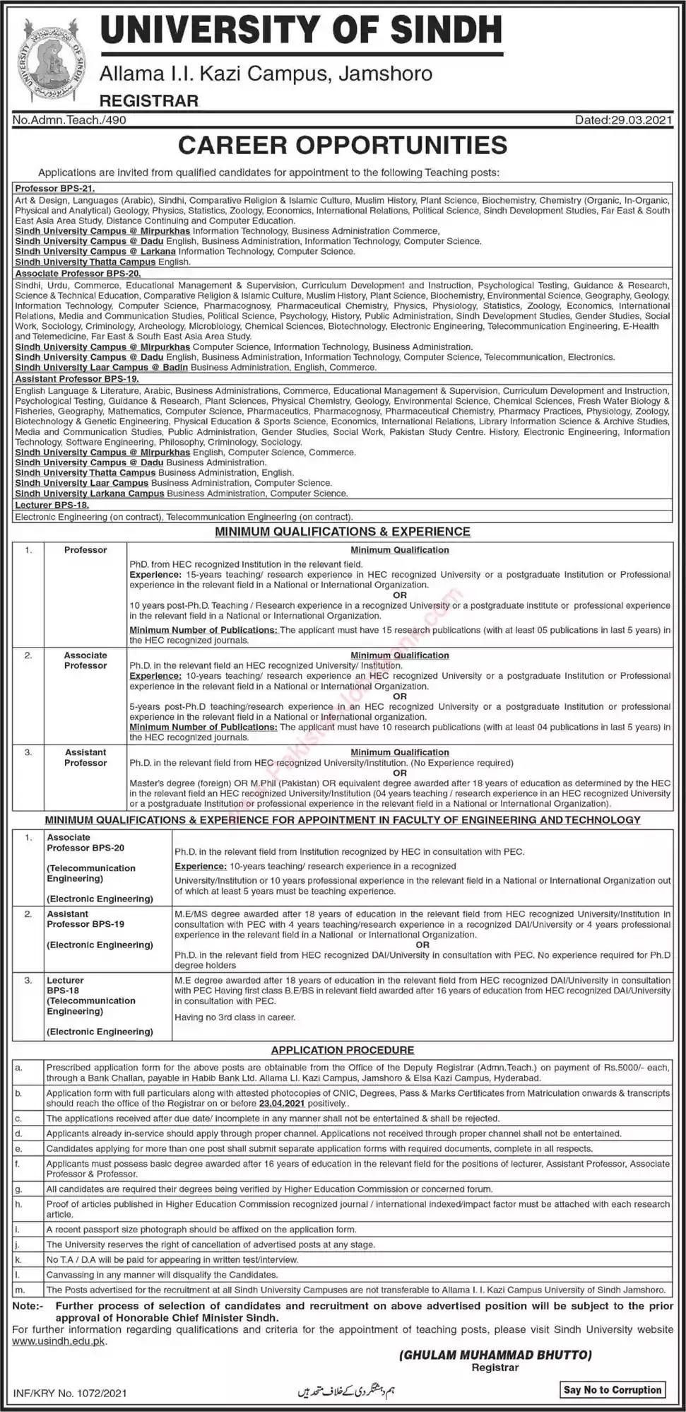 New Jobs in Pakistan University of Sindh Jamshoro Jobs 2021