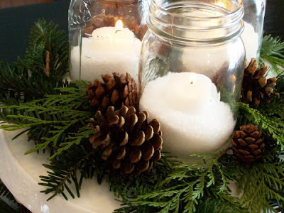 Mason jar centerpiece with pinecones