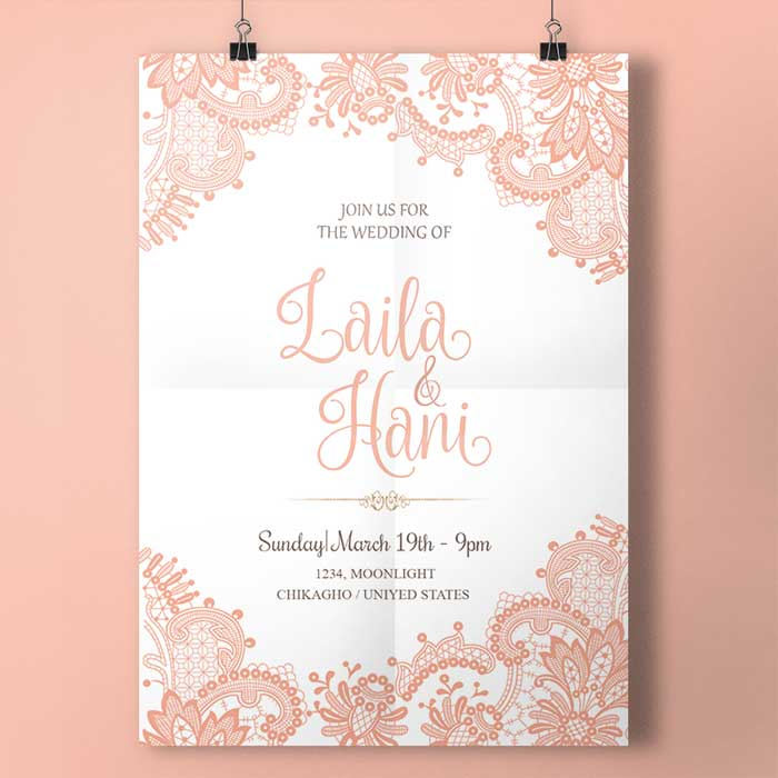 Pink Lace Wedding Card PSD Template