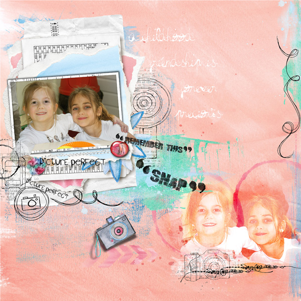 Clindoeildesign clin d'oeil design Dawn Inskip Scrapbook page Artsy watercolour paperstack photo