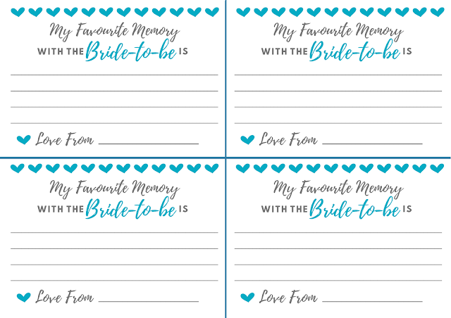 Free printable hen party memory card - in teal