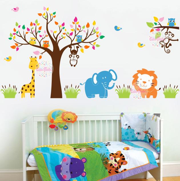 vinilo decorativo arbol rama animales selva infantil  dormitorio