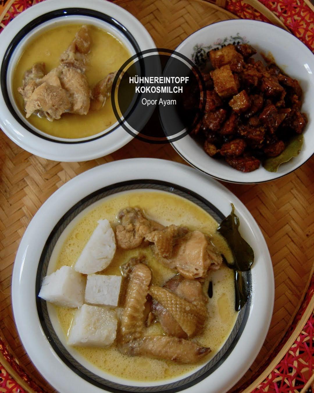 Opor Ayam, Hühnereintopf mit Kokosmilch indonesisch kochen