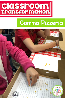 This pizza classroom transformation is a fun and engaging way to review or assess students on their knowledge of commas including: commas in a series, with conjunctions, appositives, to set off introductory words and with quotation marks. Your students will absolutely love having their classroom transformed into an Italian restaurant experience.
