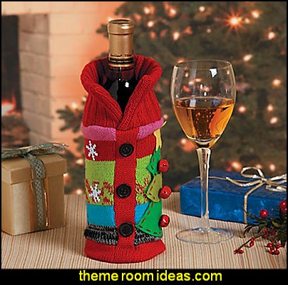 Ugly Sweater Wine Bottle Bag Gift Cover  ugly sweaters - Christmas ugly sweaters  - decorate yourself - womens ugly sweaters - ugly mens sweaters - embellished ugly sweaters - fun sweaters - novelty sweaters - Christmas party sweaters - quirky party sweaters - Christmas party hats - peppermint candy cane Leggings - ugly sweater party decorations