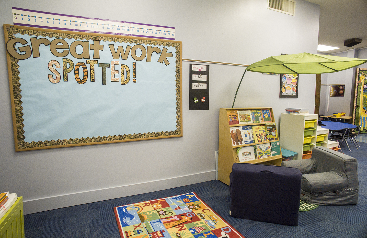 thehappyteacher classroom decor ideas and tips create a cozy classroom reading nook with ikea leaf great work spotted bulletin board is