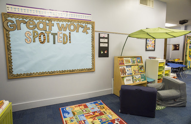 Create a cozy classroom reading nook with IKEA leaf.  Great Work Spotted bulletin board is perfect for displaying student work.