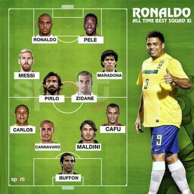 El Once ideal de Ronaldo Nazario