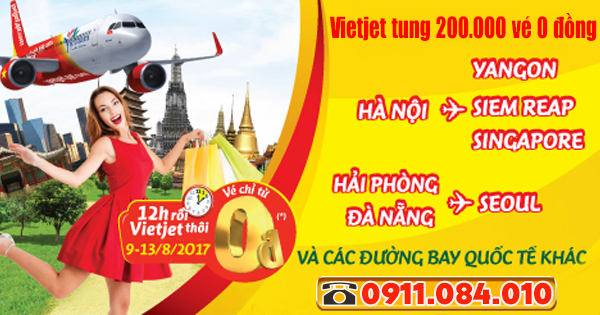 đặt 200.000 vé 0 đồng bay quốc tế hãng Vietjet Air