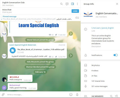 Free English Conversation Club on Telegram 2020