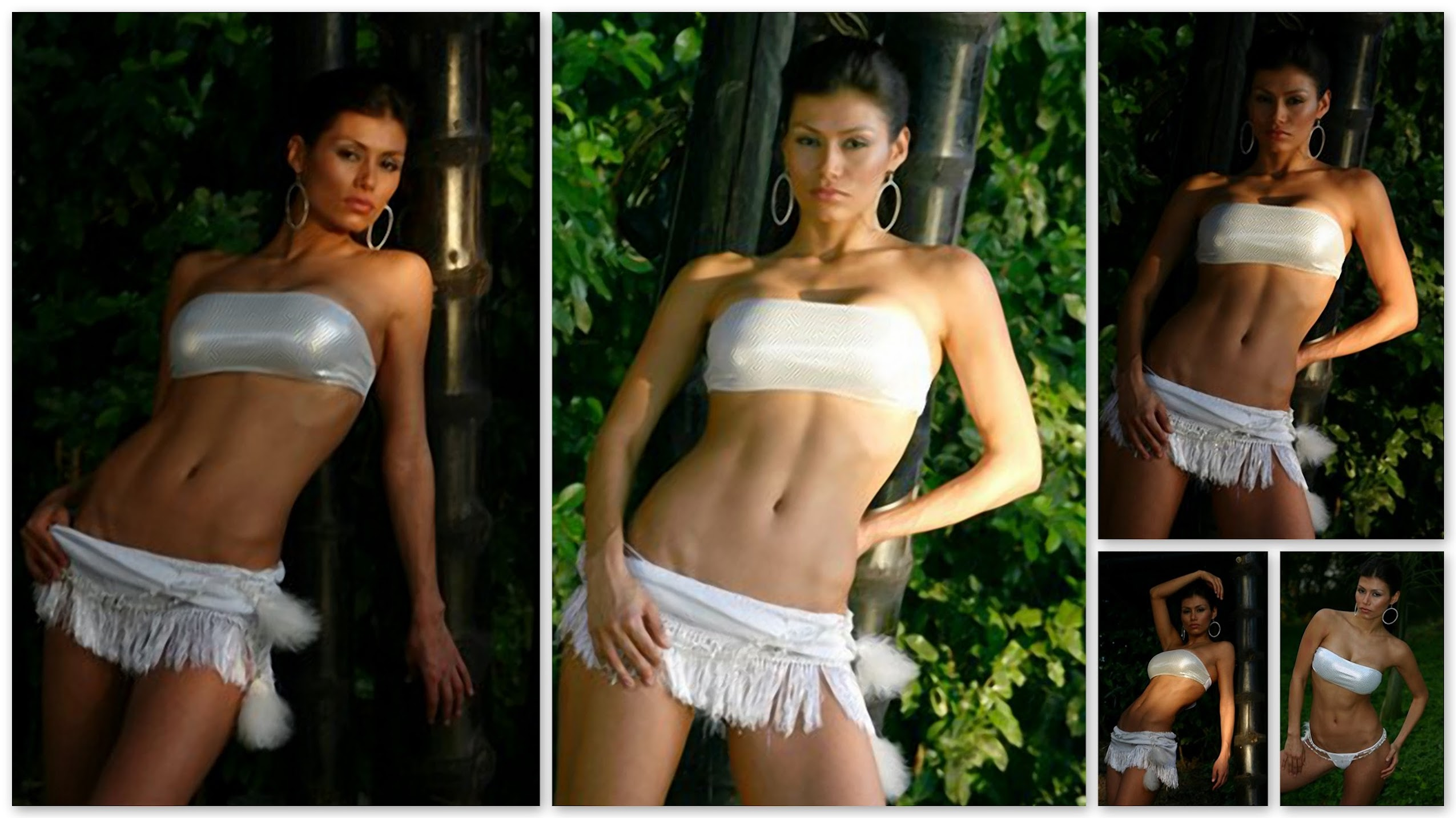 Renata Gonzalez Fotos En Minifalda Blanca y Bikini Blanco Foto 1