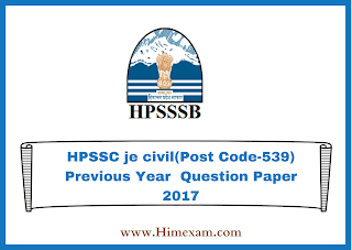 HPSSC je civil(Post Code-539) Previous Year  Question Paper 2017