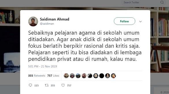 Pendukung Jokowi Ini Minta Pelajaran Agama Ditiadakan, Netizen : Dasar Anak Syaiton!!