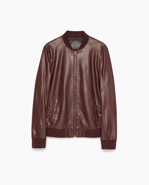 Áo khoác da Zara Faux Leather Bomber Jacket