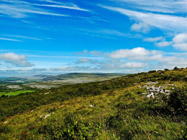 A range of Burren Mountains in Co.Clare on a sunny day with clouds.