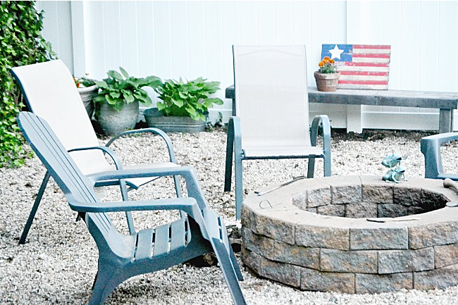 backyard fire pit with chairs