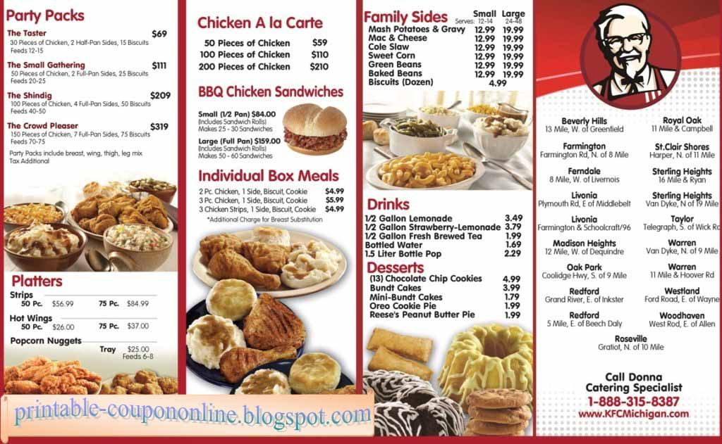 KFC Menu Prices. See the complete KFC Menu with prices here. We have added the entire Kentucky Fried Chicken Menu with prices below, making it so much easier to browse from your phone or from home. See the full KFC chicken menu, dessert menu and delivery menu with prices on one page.