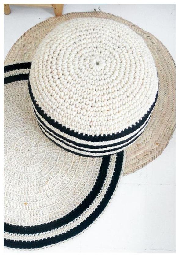 floor pouf Straw pouf Pouf ottoman meditation bean bag linen chair Crochet pouf thick wool Natural 3