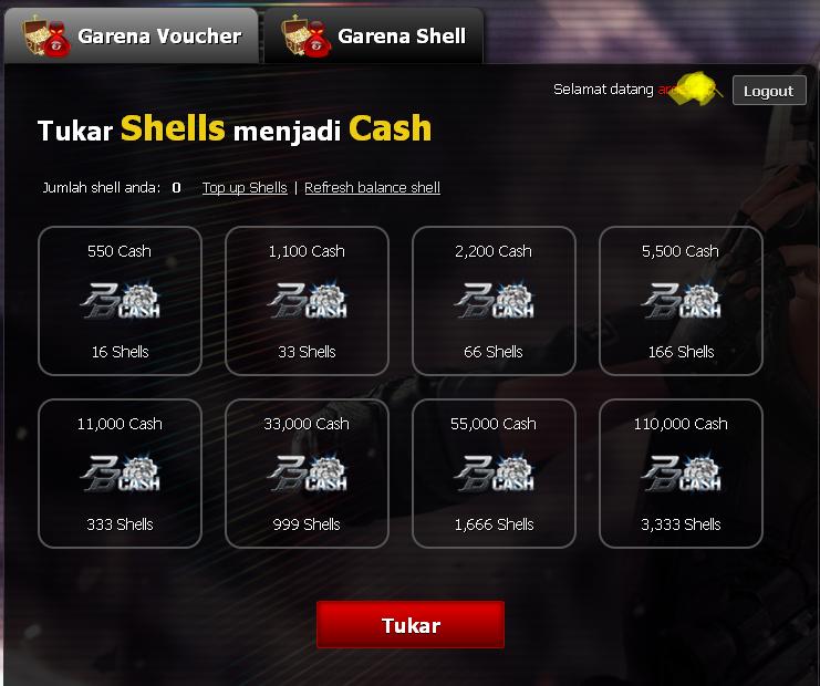 cara tukar shell garena dengan cash pb