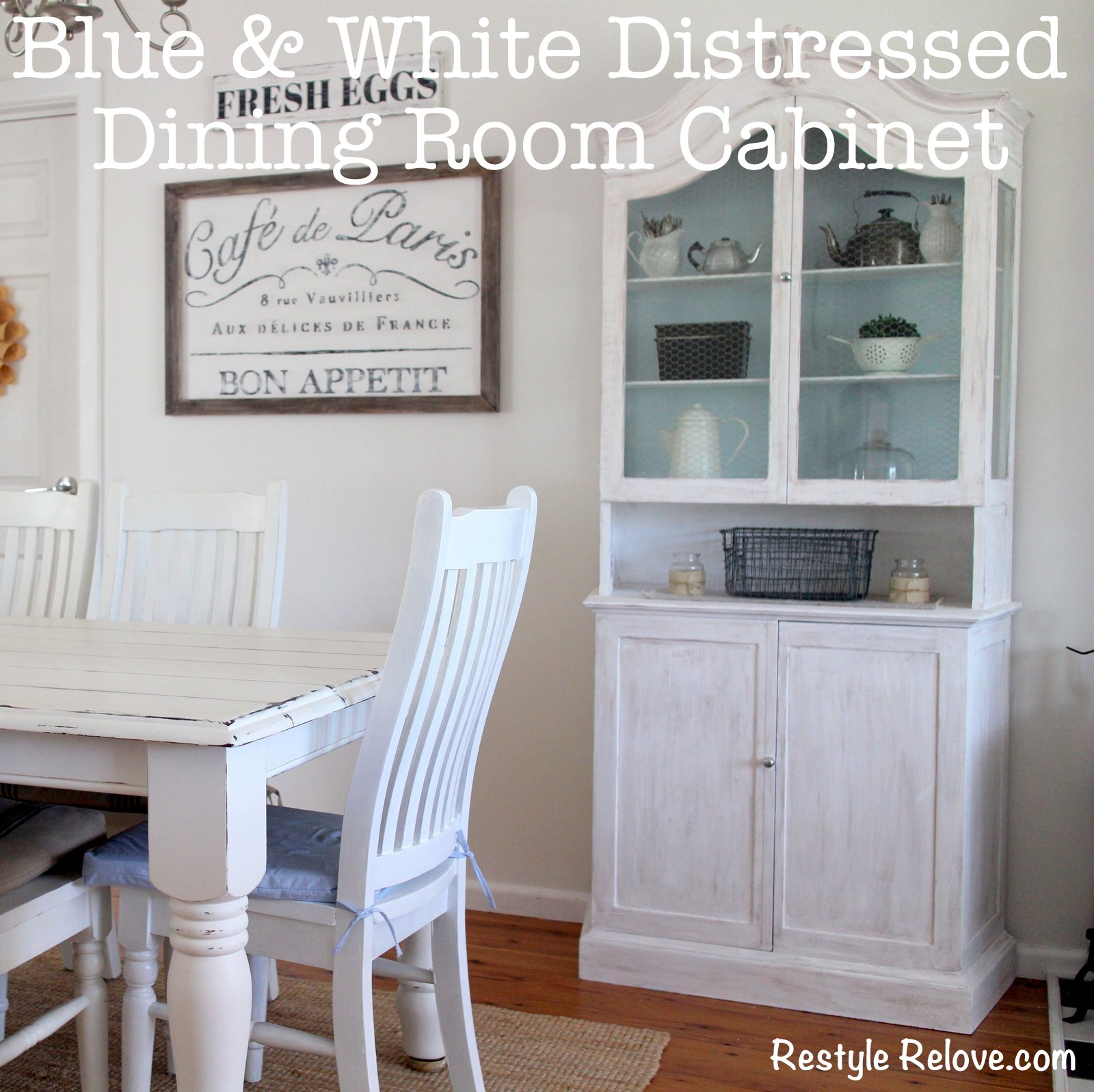 Blue and White Distressed Dining Room Cabinet