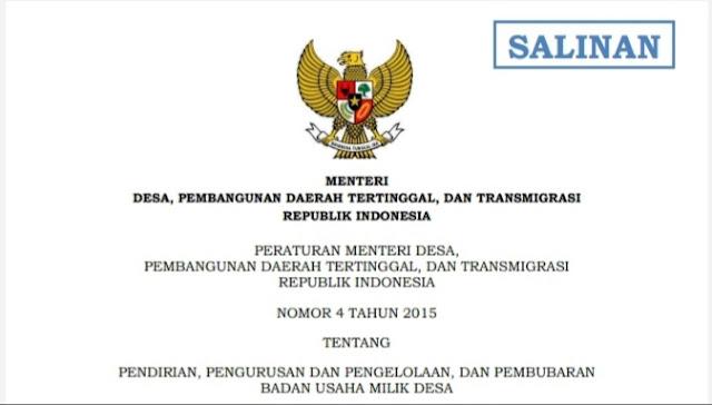 Peraturan tentang pendirian Badan Usaha Milik Desa (Bumdes)