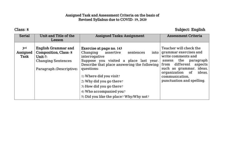 অষ্টম/ ৮ম শ্রেণির ইংরেজি ৪র্থ এসাইনমেন্ট প্রশ্ন ও উত্তর/সমাধান | Class 8 English 4th Assignment Question Answer/Solution