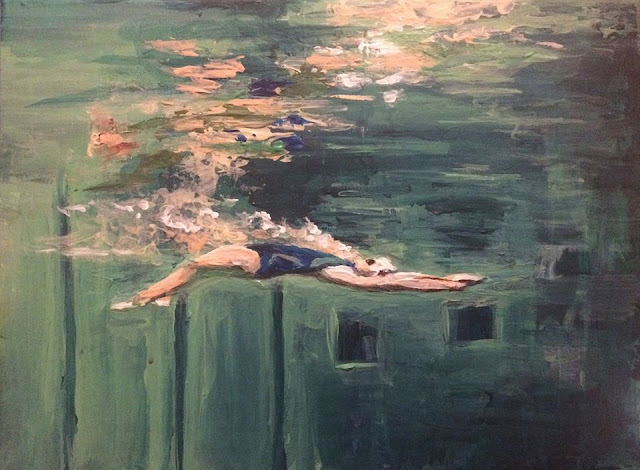 peinture d'une nageuse dans une piscine, oeuvre de Karine Babel