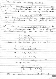 solution of equilibrium quantity and price of stackelber model