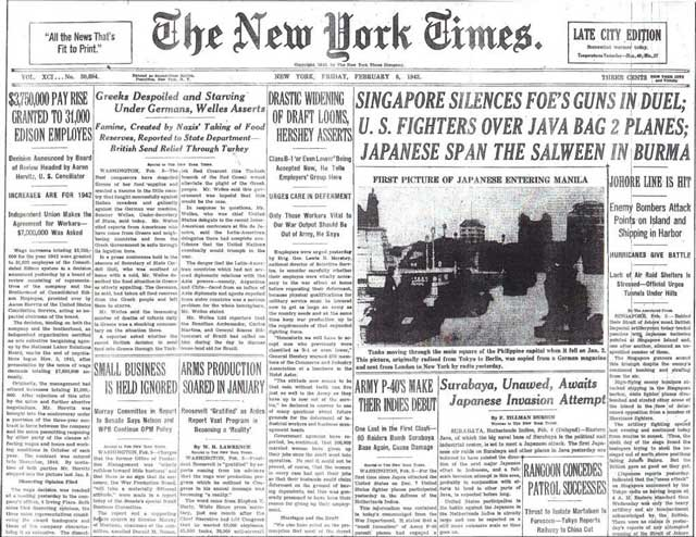 NY Times on 6 February 1942, worldwartwo.filminspector.com