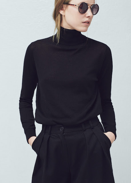mango black roll neck jumper, black high neck top,