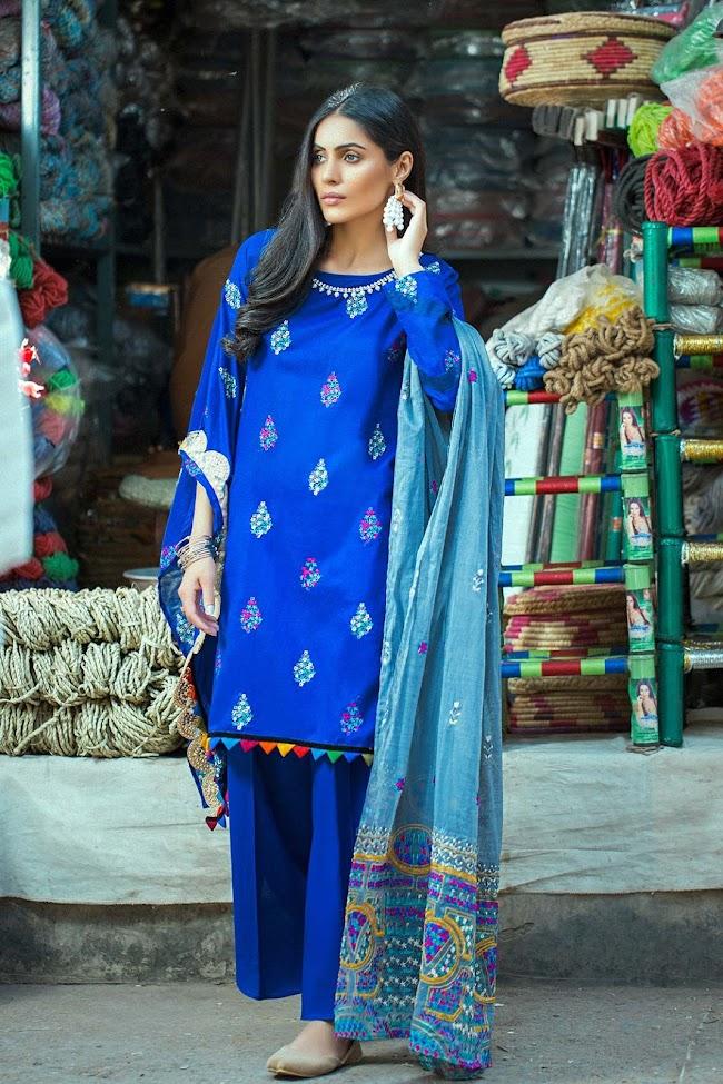 Royal Blue color crinkle 3 pc Dresses Taana Baana Eid Collection