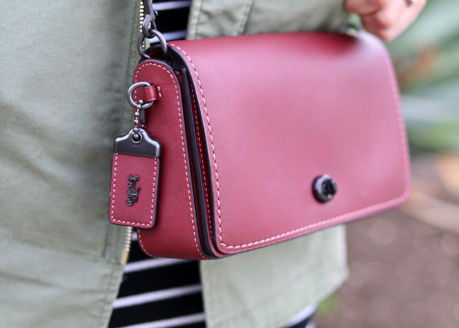 Coach Crossbody Dinky Purse, coach updated design, how to wear a coach purse