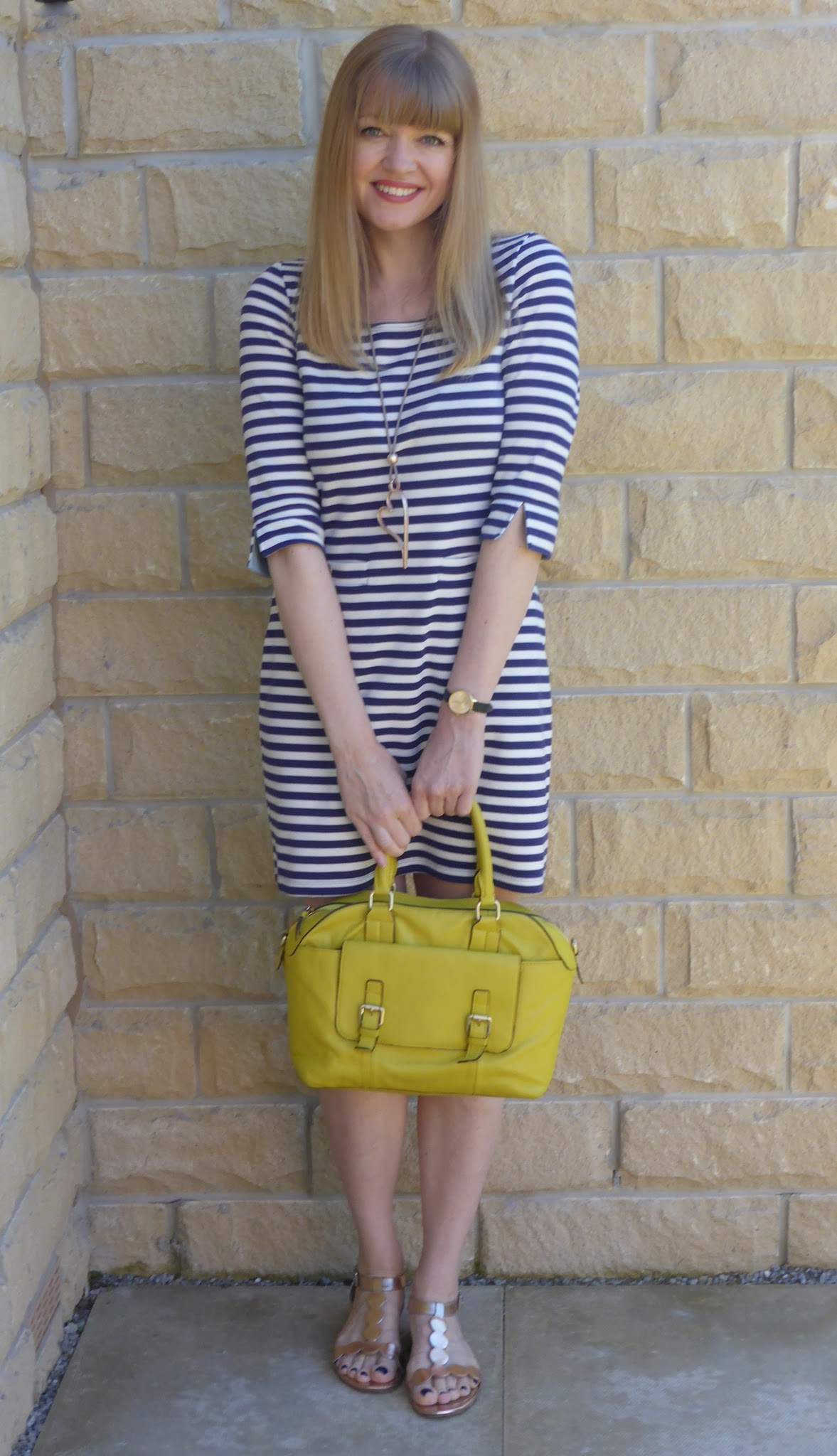6a5f0bc18752 Over 40s fashion Blogger What Lizzy Loves wearing Joules breton striped  tunic dress with rose gold